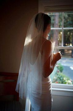 Cascading Fingertip Wedding Bridal Veil 39 inches white, ivory or diamond on Etsy, $29.99