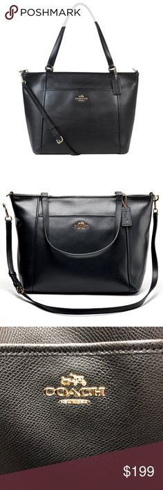 COACH Black leather & gold pocket tote with zipper In like new condition. Only used a few times. Beautiful cross grain black leather. Gold accents. Removable cross body strap. Awesome tote bag with two pockets outside. One snaps shut. This fully zips across the top! Holds so much stuff it's great. Many pockets inside too. No signs of wear. Treat yourself✨ great for travel, school, shopping! Great tote bag that has tons of life left in it! Coach Bags Totes