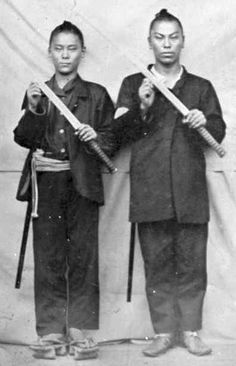 Ambrotype portrait of two Japanese samurai posing with their swords, c. 1867. By Hitomi Studio.