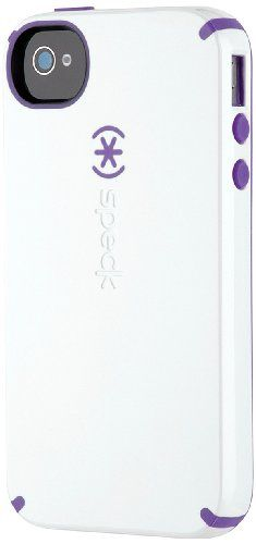 Speck Products CandyShell Glossy Case for iPhone 4/4S - 1 Pack - Carrying Case - Retail Packaging - White/Aubergine $6.53