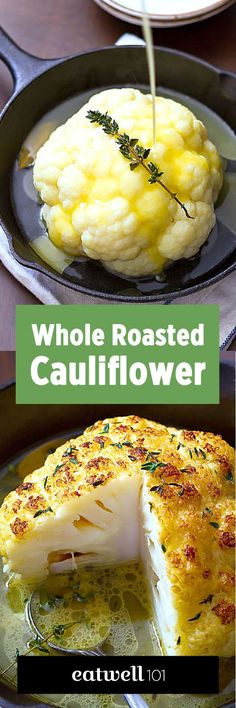 Whole Roasted Cauliflower Recipe – A lovely LOW CARB side or a VEGETARIAN main course! Crisp, tender, and SO delicious!