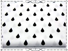 Stoff Punkte - Baumwolle, Tropfen, Regentropfen, schwarz auf weiß - ein Designerstück von imagine-shop bei DaWanda