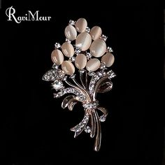 new arrival Women Brooch Bouquet Opal Rhinestones Brooches Fashion Jewelry Broches Pins for Women