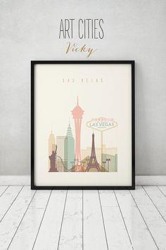 Las Vegas print Poster Wall art Nevada cityscape by ArtPrintsVicky