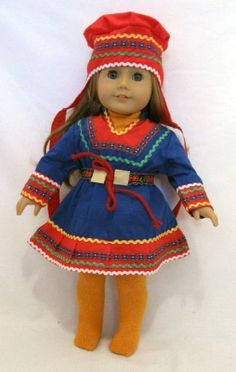 "18"" Doll Scandinavian/Finnish Dress fits American Girl doll, Kirsten National dress of Finland, but it can be used for other Scandinavian countries. Fits American Girl doll Kirsten, or other AG style body dolls such as Adora, My Generation, and more."