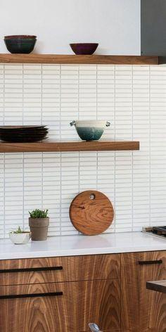 Updated Kitchen, New Kitchen, Kitchen Dining, Kitchen Decor, Home Interior, Kitchen Interior, Interior Colors, Walnut Kitchen, White Tile Kitchen