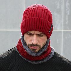 Winter Beanies Men Scarf Knitted Hat Caps Mask Gorras Bonnet Baggy Warm Hats  For Men Women 17e7202a3442