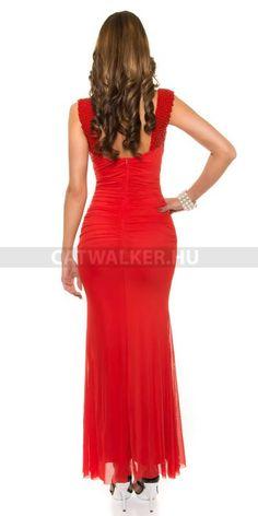 Estélyi ruha gyöngyökkel K9132 - piros Formal Dresses, Red, Fashion, Dresses For Formal, Moda, Formal Gowns, Fashion Styles, Formal Dress, Gowns