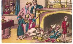 Sint en Piet hebben hun werk gedaan. De klompjes en de schoentjes zijn gevuld, maar de rechter jongen heeft een roe gekregen en één woordje van Sinterklaas!