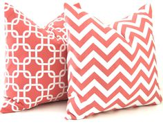 Coral Pillow Decorative Throw Pillow Covers 20 x 20 Inches Combo Pair Pillow Covers Coral Chevron and Chain Link on White