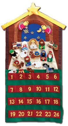 "29"" Felt Velcro Nativity Advent Calendar"