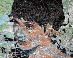 Map Portraits Beautiful new portraits from English artist Ed Fairburn who uses vintage road maps and star charts as his canvases. Fairburn opens a new show of work alongside artist John Wentz today at Mike Wright in Denver. Art Altéré, Map Art, Southampton, Ed Fairburn, Illustrations, Illustration Art, Kreative Portraits, Art Et Design, 2d Design