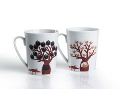 Moringa - Reka Molnar, designer creates mugs that have heat sensitive little drawings on them... Pour your tea in and see what the little fox is waiting for under the tree. They are lovely!
