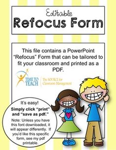 Editable Refocus (Student Reflection/Conference) Form!