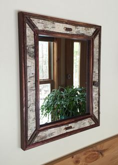 Adirondack Birch Bark Framed Mirror Pine Cove Wood Works - Dave Malbon