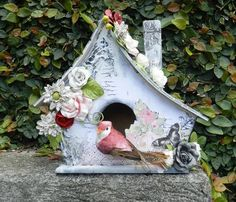 Gorgeous altered birdhouse using the Lyric Collection by Solange Marques for Prima! www.prima.typepad.com #springtime #birdhouse #prima