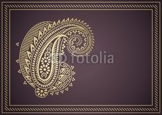 Vector: wedding template design, paisley floral motif , India