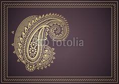 Vector: wedding template design, paisley floral motif , India