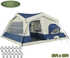 Northpole Extra-Large 15x15 Tent with 3 Rooms and Porch - Comfortably Sleeps 12 Adults!