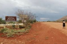 Clinton Pryor crossing the WA border into NT