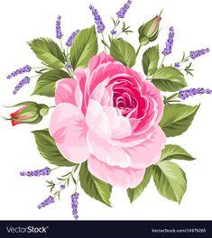 Etiqueta con flor rosa y lavanda . Wedding Flower Guide, Neutral Wedding Flowers, Cheap Wedding Flowers, Bridal Flowers, Flower Bouquet Wedding, Bridal Bouquets, Flower Crafts, Flower Art, Rose Drawing Simple