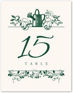 Watering Can Vintage Monogam Wedding Table Numbers