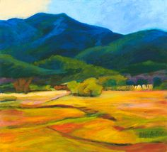 Southwest Oil Painting by Helga Haller, Fields and Mountains