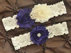 Purple Wedding Garter, Bridal Garter Set - Ivory Lace Garter, Keepsake Garter, Toss Garter, Shabby Chiffon Purple and Ivory Wedding Garter