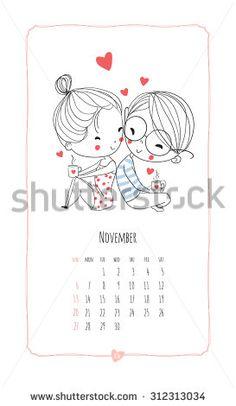 Calendar 2016. Loving boy and girl. Cute romantic theme.