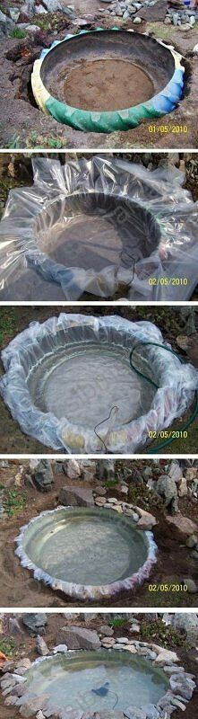Diy pond. I so want a small goldfish pond!