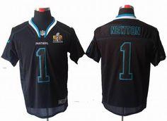 2012 Nike Carolina Panthers 1# Cam Newton Lights Out Black 2016 Super Bowl 50 elite Jersey 25.0$