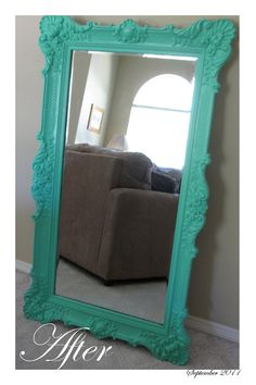 this is on etsy & quite expensive, but I bet with a yard sale mirror and some paint you could make a pretty sweet replica. :) etsy - Home Decorating Magazines Refurbished Mirror, Refurbished Furniture, Painted Furniture, Funky Furniture, Mirror Mirror, Mirror Booth, Ornate Mirror, Floor Mirror, Homemade Home Decor