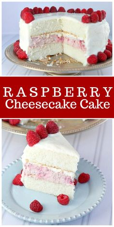 This Raspberry Cheesecake Cake is the perfect, pretty cake for celebrations! #raspberry #cheesecake #cake #recipe via @recipegirl
