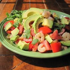 Avocado-Shrimp Salad Allrecipes.com. My Gundry diet does not allow tomatoes due to genetic disposition to arthritis and inflammation; I may have them once a week with the seeds scooped out, as that is the most toxic part.