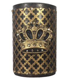 Sir Oliver's now by Reilly-Chance Collection ~ Decorative Brown Candle Roasted Chestnut 4x6 with Gold Jeweled Mesh and Crown