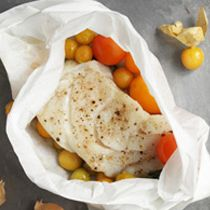 This classic cod preparation is given new life with the addition of ground cherries, a relative of the tomatillo.
