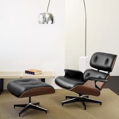 The infamous Eames Lounge Chair and Ottoman, designed by Charles and Ray Eames, 1956 and part of the MoMA Collection. Smart and sophisticated.