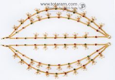 22K Gold Champa Saralu, Ear Chain, Ear Martiz - 1 Pair