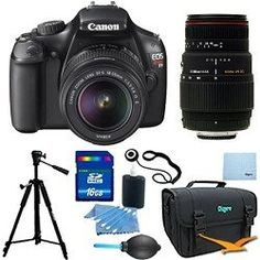 Review Cheap EOS Rebel T3 SLR Digital Camera w/ 18-55mm Lens II and 75-300mm F/4-5.6 LD Telephoto Zoom Pro Kit. Kit Includes 16GB Memory Card, Compact Deluxe Gadget Bag, Tripod, 3pc. Lens Cleaning Kit, Professional Blower, and more.