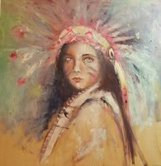 native american...k d milstein...fadedwest...original oil cold wax painting