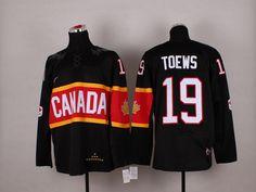 Team Canada 19 Jonathan TOEWS 2014 Winter Olympics Jersey - Black
