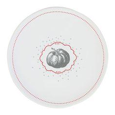 Assiette à dessert faience motif tomate blanc/rouge D.22cm Lot de 6 Jardin d'Ulysse port offert