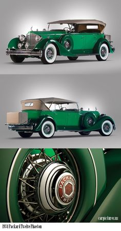 1934 Packard Twelve 5-Passenger Phaeton - stunning shade of green. #vintage #1930s #cars