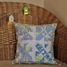 A decorative patchwork pillowcase. Fresh pastel COLOURS such as blue, gray and green, have been combined. The white lace makes the look even more delicate. It could give a springy touch to your home, and, at the same time it is perfect for a childs room. Yellow Turquoise, Gray Yellow, Color Blue, Blue Green, Handmade Envelopes, Patchwork Pillow, Pastel Colours, Lace Making, White Lace