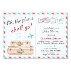 Paper Airplane Baby Shower Invitation Set Chevron Stripes Navy Aqua