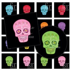 Rainbow Skulls (dc57536120) Printable Digital Art available in Scrabble Tile size & Circle or Square in 1 or 1.5 inch by KarlaRuizDesigns on Etsy https://www.etsy.com/transaction/1015737854