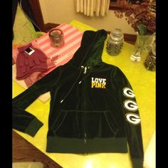 Pink VS Green Bay Packers hoodie Perfect for the GB Packer fan. Hoodie with front zipper. PINK Victoria's Secret Tops Sweatshirts & Hoodies