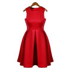 $13 Fashion O Neck Tank Sleeveless A Line Red Cotton Mini Dress