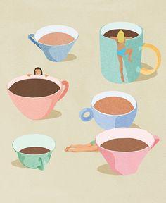 Coffee Cup Art, Coffee Girl, Espresso Coffee, Coffee Coffee, Coffee Break, Coffee Illustration, Funny Illustration, Printed Coffee Cups, Cafe Art