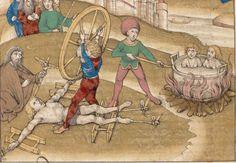 Bern, Burgerbibliothek, f. Medieval Life, Medieval Knight, Medieval Art, Medieval Drawings, Medieval Paintings, Medieval Manuscript, Illuminated Manuscript, Tiger Artwork, Renaissance